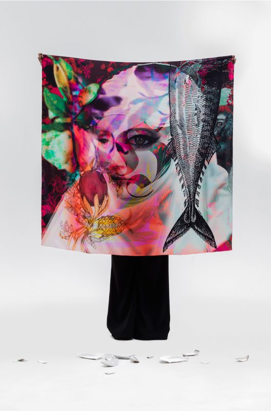 "Scarf  ""The fish"" 120×120 cm"