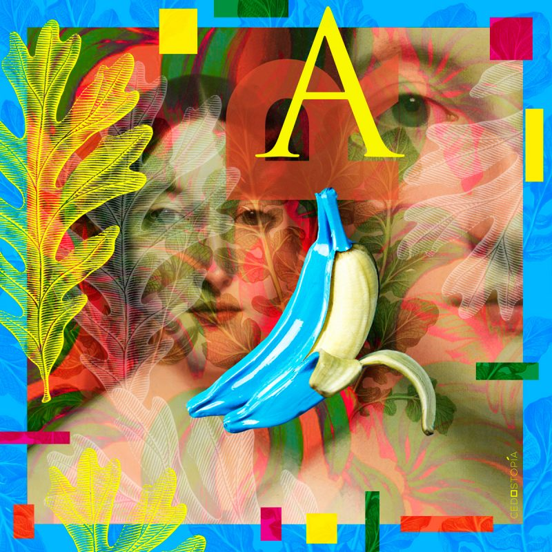 "Scarf ""Banana"" 90×90 cm"